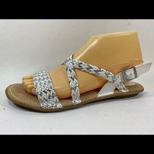 boc Born Concept White & Silver Sandals Sz 8M